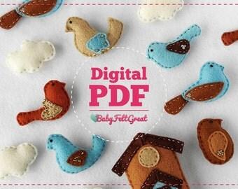Digital PDF Pattern DIY Baby Felt ornaments, Birds decoration Set, Birdhouse, House, Clouds, Instant download