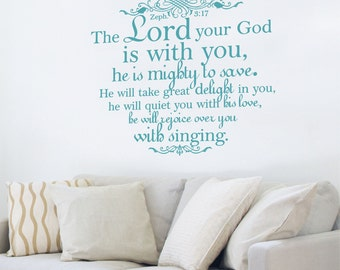 Vinyl Wall Decal Lord Your God is With You Zephaniah 3 17 Bible Verse Religious Wall Quote Inspirational Decal Home Decor Wall Quote Faith