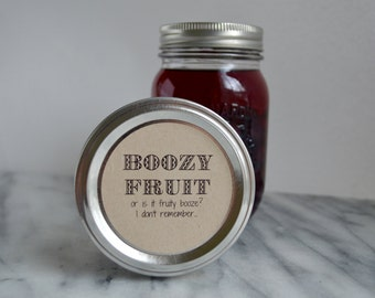 Printable Boozy Fruit Mason Jar // Canning Jar Labels // 2 inch and 2.5 Inch // Instant Download