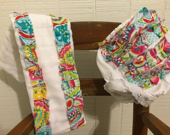 Matching bloomer and burp cloth set