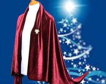 Burgundy Velvet cape, maroon velvet wrap, fall cover up, classy women shrug, Christmas gift, Autumn fall scarf, elegant velour capes