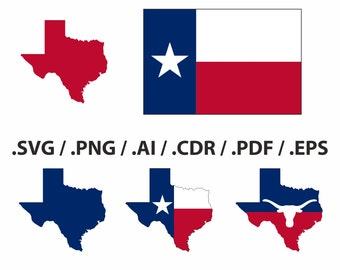 Texas State Map, flag and symbols clipart collection.  AI, eps, svg, png and pdf Files included, instant download, vector file, easy editing