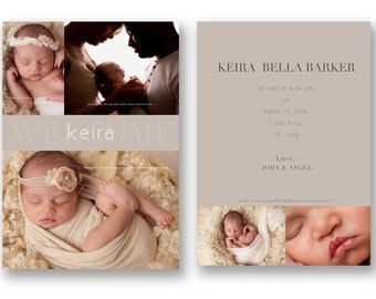 Modern Birth Announcement Template for Photographers, Templates for Photographers, psd templates, baby announcement template