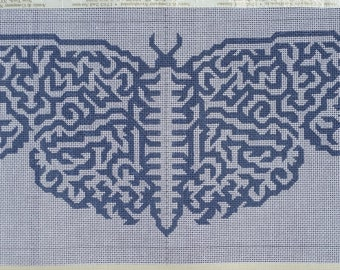 "Handpainted Needlepoint Canvas, Symmetric Design, Moth Shape, Grey-Blue, 9.5""x20"""