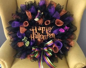 16'' Halloween Mesh Deco Wreath