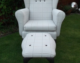 Vintage Large Wing Back Fireside Grey Check Chair With Free Matching Footstool Parker Knoll Style