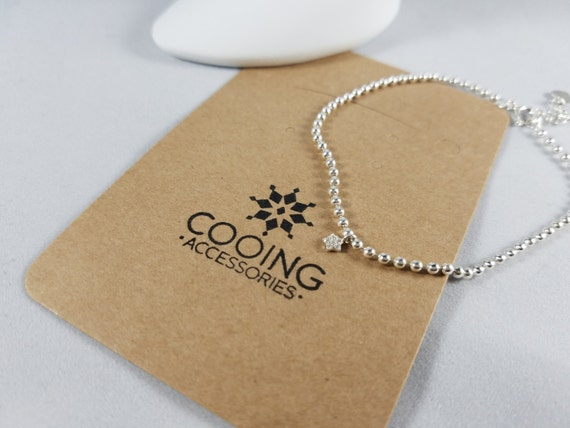 Sterling Silver 925 Bracelet with Star and Heart Pendant