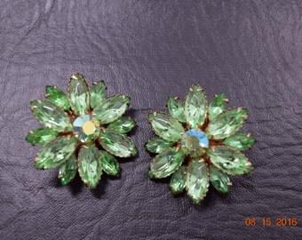 Vintage Green Rhinestone Clip-On Earrings
