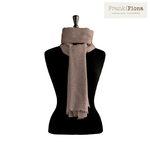 100% Pure Organic Cashmere Shawl, Christmas gift, Grade A Mongolian Cashmere, 28 x 80 inches, Dark Brown,Thick Scarf,Eco Friendly,Knitted,4T