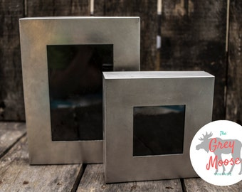 Two Rustic Metal Photo Frames 3x3 and 4x6