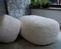Sofa and pouf made from plastic bags