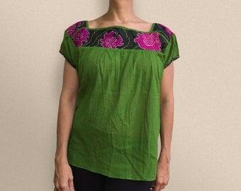 Green Flower Blouse
