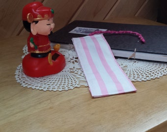 Plain Pink and White Striped Bookmark with Sparkle Yarn Tassel