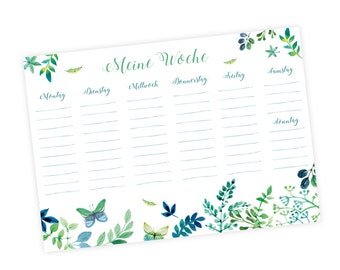 A5 weekly planner block floral date Planner green blue 50 sheet * nikima *.