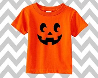 Toddler/Youth Pumpkin Face Jack-O-Lantern Halloween Tee Scary Pumpkin Face Shirt Halloween Party T-Shirt  Happy Halloween Youth Tee