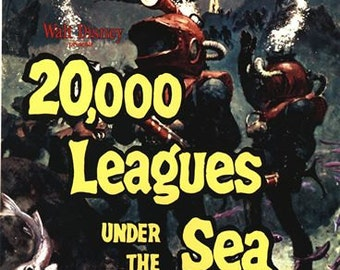 Vintage 20,000 Leagues Under the Sea Movie Poster A3/A2/A1 Print