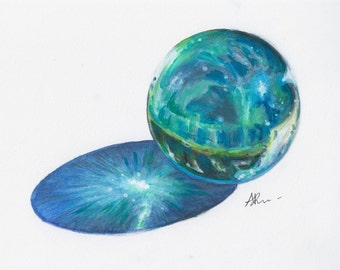 Original - Glass Sphere - Palantír, 14x11 inches