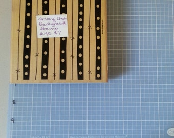 """Stampin Up! Mounted, Used, Retired Background Stamp """"Groovy Lines:"""