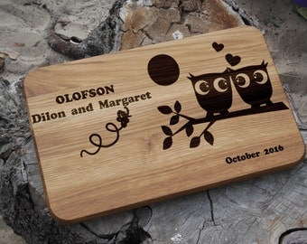 Personalized cutting board wedding gift for couple Engagement gift for her Rustic cheese board engraved Love birds cutting board owls