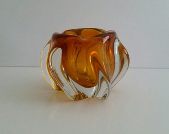 Vintage Amber Glass Ashtray/Bowl