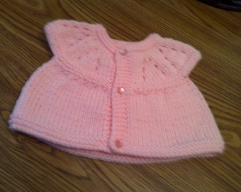 Baby Sweater Pink with frosted pink buttons