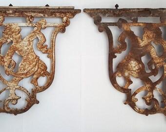 Cast iron cherub shelf brackets, pair, Victorian reclaimed architectural dated 1898 salvage restoration gardenalia renovation rusty