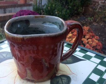 Red mug with squared off top