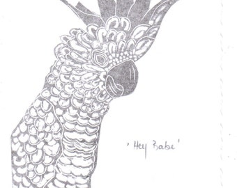 Linocut Art Card - Hey Babe