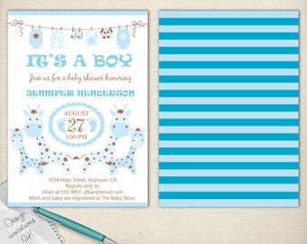 Giraffe Baby Shower Invitation,Girl Baby Shower Invite,Cute Baby Shower Invite,Giraffe baby shower,Girl and boy baby shower invite set,