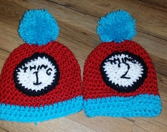 Thing 1 and Thing 2 Newborn Hat