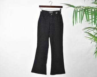 Vintage Rare Versace Italian Bellbottom Black Jeans