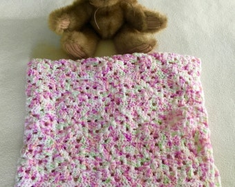 "Hand-crocheted 4-color speckled granny squares baby blanket 27"" x 27"""