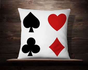 Playing Card Pillow, Casino Room Decor, Gambler Gift, Roulette Lover Gift, Poker Player, Casino Table Games, Craps Player,Vegas Gambling