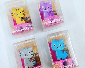 Cute Kitty Cat Eraser & Sharpener Gift Set