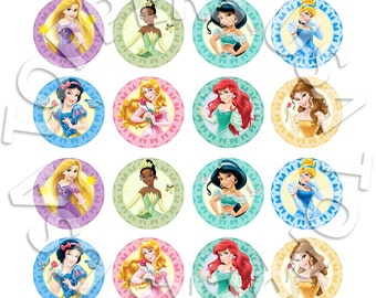 16x EDIBLE Disney Princess Cupcake Toppers - Wafer Paper Sheet diy - round circle 4cm (uncut)