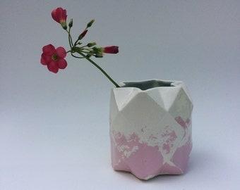 Geometric, faceted ceramic pot - small.