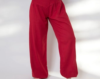 L-XL, pants, cotton harem pants Red