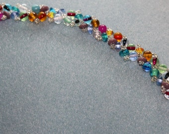 HOLIDAY SALE...Multi-colored glass beaded Bo-Ho bracelet