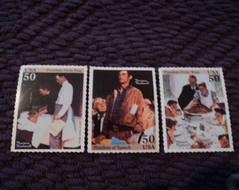 1994 Norman Rockwell Freedom Replica's of Postage Stamp Magnets