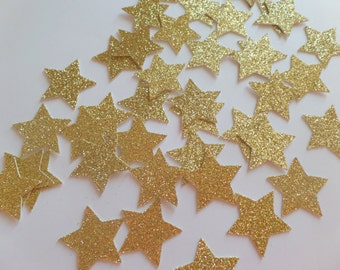 Gold Glitter star Confetti  (100 pieces) Die Cut - twinkle twinkle, baby shower, first birthday Table Decorations