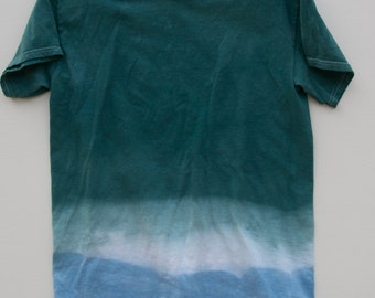 Forest Green, Blue, and White Dip Dyed Shirt