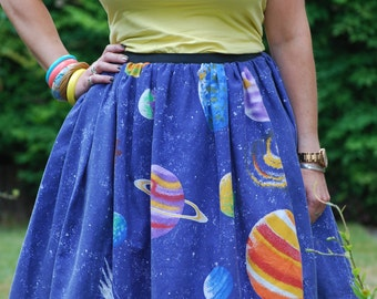 Space skirt, skater skirt, retro skirt, 1950s style skirt, vintage fabric skirt, space theme skirt, planets skirt, full skirt,