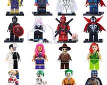 16pcs Super heroes Avengers Suicide Squad Joker Harley quinn Deadpool Minifigures Building Blocks Bricks Toys lego Compatible
