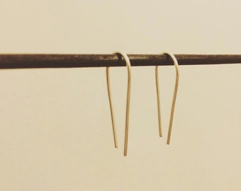 Sterling silver | Hook drop earrings | Minimalist | Modern | Pin earrings