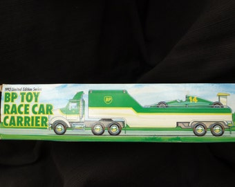 Collectible BP Toy Race Car Carrier and Removable Formula 1 Style Race Car - 1993 Limited Edition