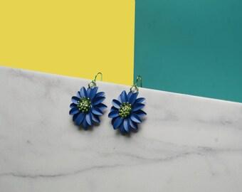 Royal Bleu Dahlia Earrings