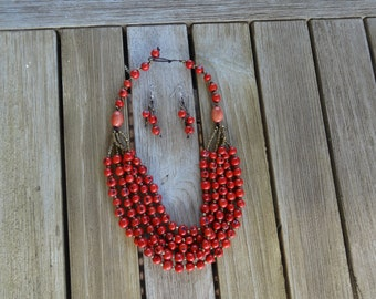 Tagua necklace with earrings - Red