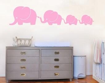 Cute Elephant Family Wall Art Bedroom Kids Child Decal Mural Sticker