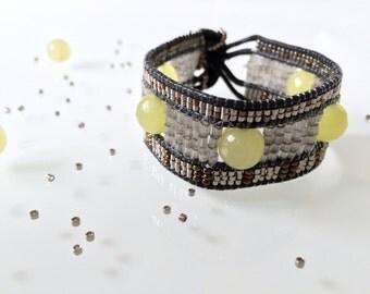 Beaded Bracelet 'Lime' - Beadwork - Pearls - Bead