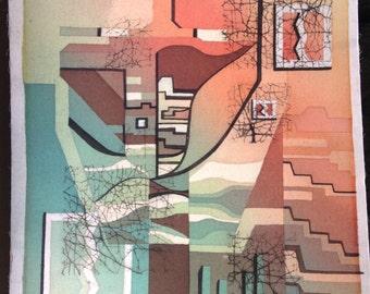 Mid century mod art piece drawing print original 1950's 1960's 1970's Tiki
